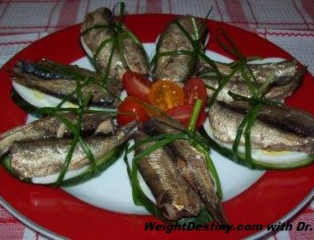Smoked Sprats, Cucumber, and Eggs Bunches